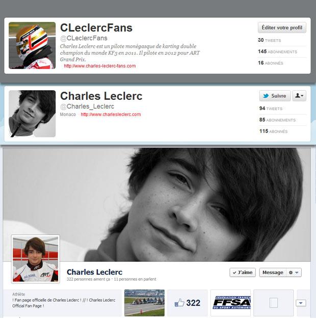 Retrouvez Charles Leclerc sur twitter et facebook